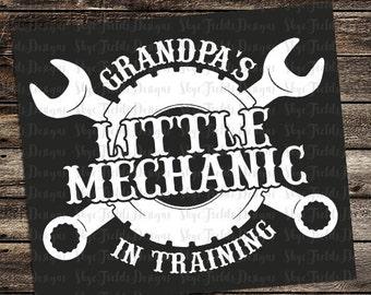 Grandpa's Little Mechanic In Training SVG, JPG, PNG, Studio.3 -Silhouette, Cameo, Portrait, Cricut, Cut File, Car, Truck,