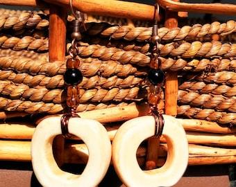Ivory African style drop earrings