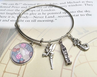 Disney charm bracelet, Disney Park map, Peter Pan bracelet, tinkerbell, upcycled jewelry, bridesmaid gift, first anniversary gift, FE gift