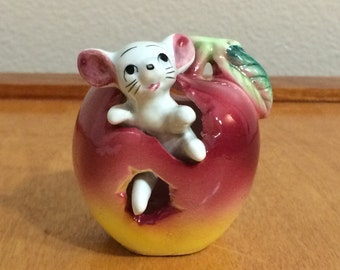 Vintage Mouse in Red Apple Tooth Pick Figurine from Japan - 1940's