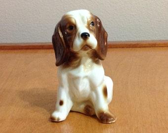 Brown Spotted Dog Frigurine - Ceramic Porcelain Puppy