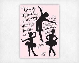 Printable Kids Valentine Card Girls Valentine Cards, Dance Valentines Day Card, Kids School Valentines, Dancer Classroom Valentines Download