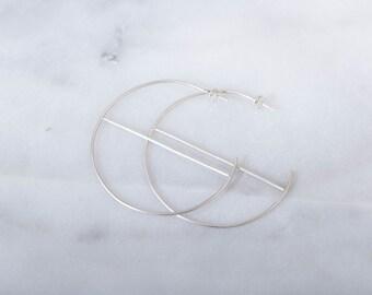 Hooplah Hoops Silver Modern Minimal Hoops