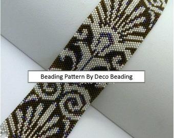 "Peyote Beading PATTERN. DIGITAL DOWNLOAD. Even Count Peyote Pattern. ""Shimmering Fans"" Bead Pattern. DecoBeading."