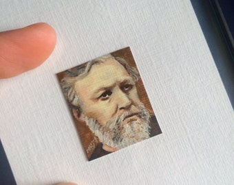 Mini Robert Browning Portrait Painting, Framed