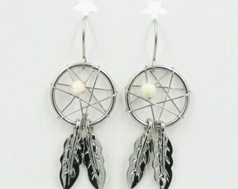 Earrings Silvertone DREAM CATCHER White Bead Charms on Stainless Steel Pierced Ear Wire Jewelry