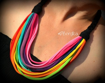 Rainbow Multistrand recycled fabric jewelry upcycled fiber necklace tshirt necklace