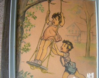 vintage frame-children playing-child bedroom-wall display-nursery-preschool walls-retro-