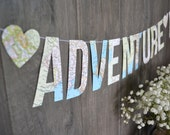 our adventure begins banner, our adventure begins travel theme wedding photo prop, atlas wedding banner, vintage atlas just married sign