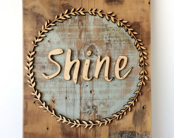 Shine Boxwood Barn Wood Wall Sign