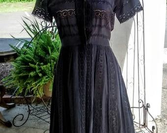 Cotton Eyelet Summer Dress ca 1950's