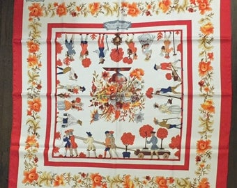 "Authentic ""Jardiniers du Roy"" Hermes Scarf from 1967"