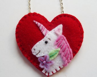 Felt Unicorn Pendant, Heart Unicorn Pendant, Felt Unicorn Necklace, Heart Unicorn Necklace, Valentine Unicorn Pendant, Valentine Jewelry