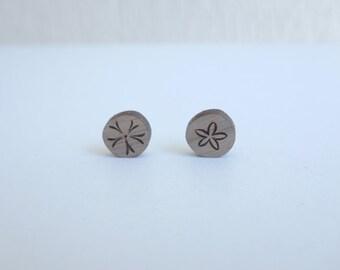 original woodcut Sand dollar earrings