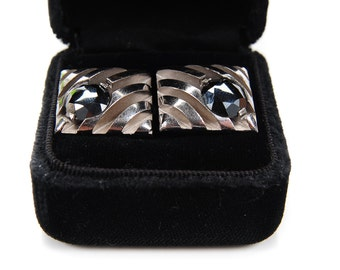 Pair of Mid Century Sterling Silver Square Cufflinks