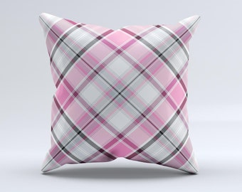 The Black and Pink Layered Plaid V5 Pillow ink-Fuzed Decorative Throw Pillow