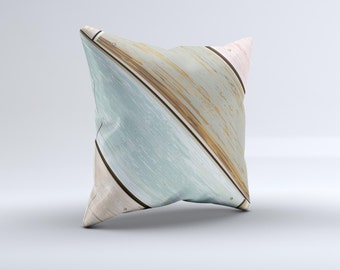 The Zigzag Vintage Wood Planks ink-Fuzed Decorative Throw Pillow