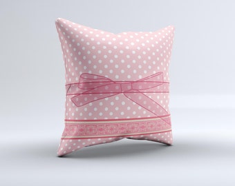 The Subtle Pink Polka Dot with Ribbon ink-Fuzed Decorative Throw Pillow