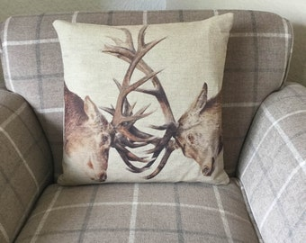 Natural Linen Stags Cushion