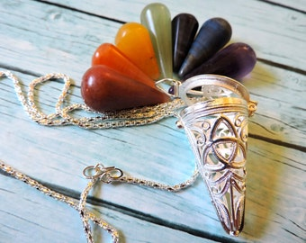 TRIQUETRA Pendulum Necklace Set with 7 Chakra stones ~ 50% off SALE & Reduced S/H !!!!