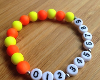 Phone Number ID Bracelet - emergency - find me fast - Neon Beads - Choose your own