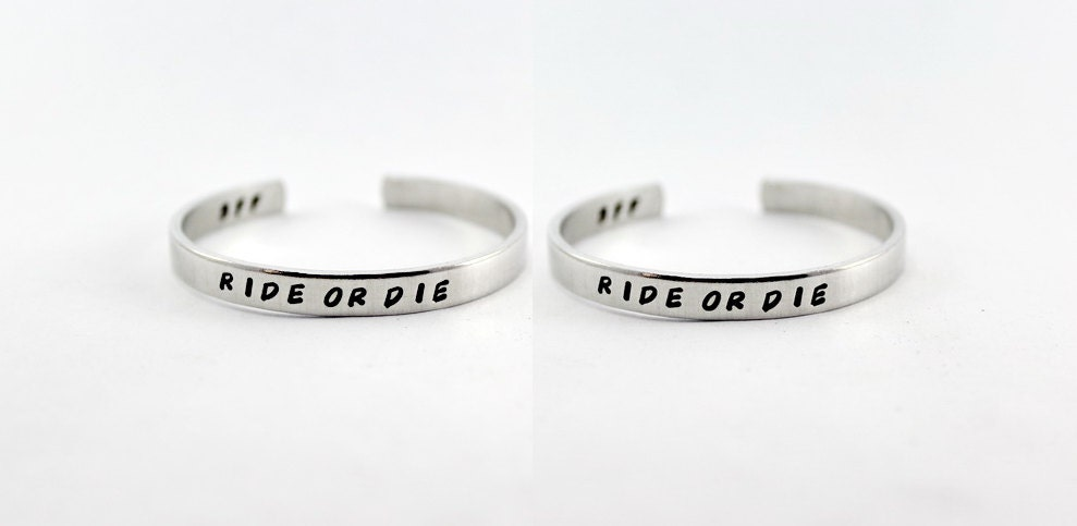 Ride Or Die Aluminum Cuff Bracelet Set Best Friends Forever