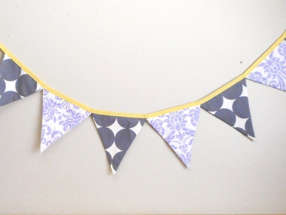 Purple and Grey Bunting - Party Garland - Photo Prop Banner - Eco-friendly - Damask Banner - Polka Dots - Party Decoration - Lilac