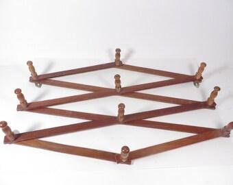 Vintage Accordion Expandable Peg Rack - Wood Folding Peg Rack