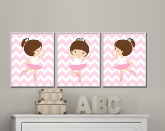 Baby Girl Nursery wall Art. Ballerina Nursery Art Prints. Suits Baby Girl Pink Nursery and bedroom Decor. Custom Colors - S-213