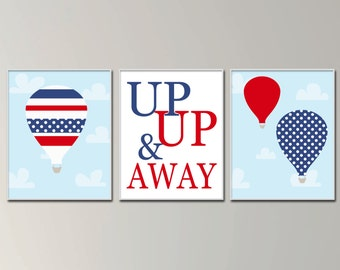 Baby Boy Nursery Art Print, Hot Air Balloon Nursery Art with Up Up And Away Quote, Suits Navy Red Nursery Decor & Bedroom Decor-P326,335,327