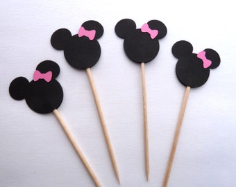 24 Minnie Mouse Cupcake Toppers, Pink, Girl Birthday, Cake Toppers, Baby Shower, Food Picks, Theme Party Picks, Ships in 3-5 Business Days