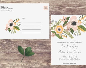 Floral Save The Date Postcard without Photograph, Non-Photo Postcard Save the Date, Non-Photograph Save the Date, Floral Wedding Postcard