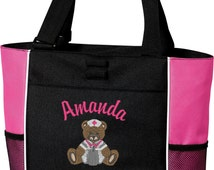 Personalized nursing tote bag, Medical, embroidered design of teddy bear, nursing title, custom, RN, BSN, LPN ect..