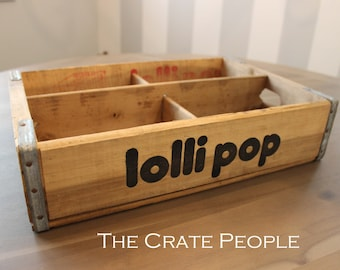FREE SHIPPING -- Vintage LolliPop Soda Pop Crates with 4 Dividers || Vintage Wood Crates || Lolli Pop Soda Crates