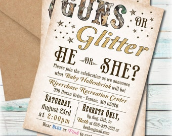 Printable Guns or Glitter Gender Reveal Party Invitation - Digital File