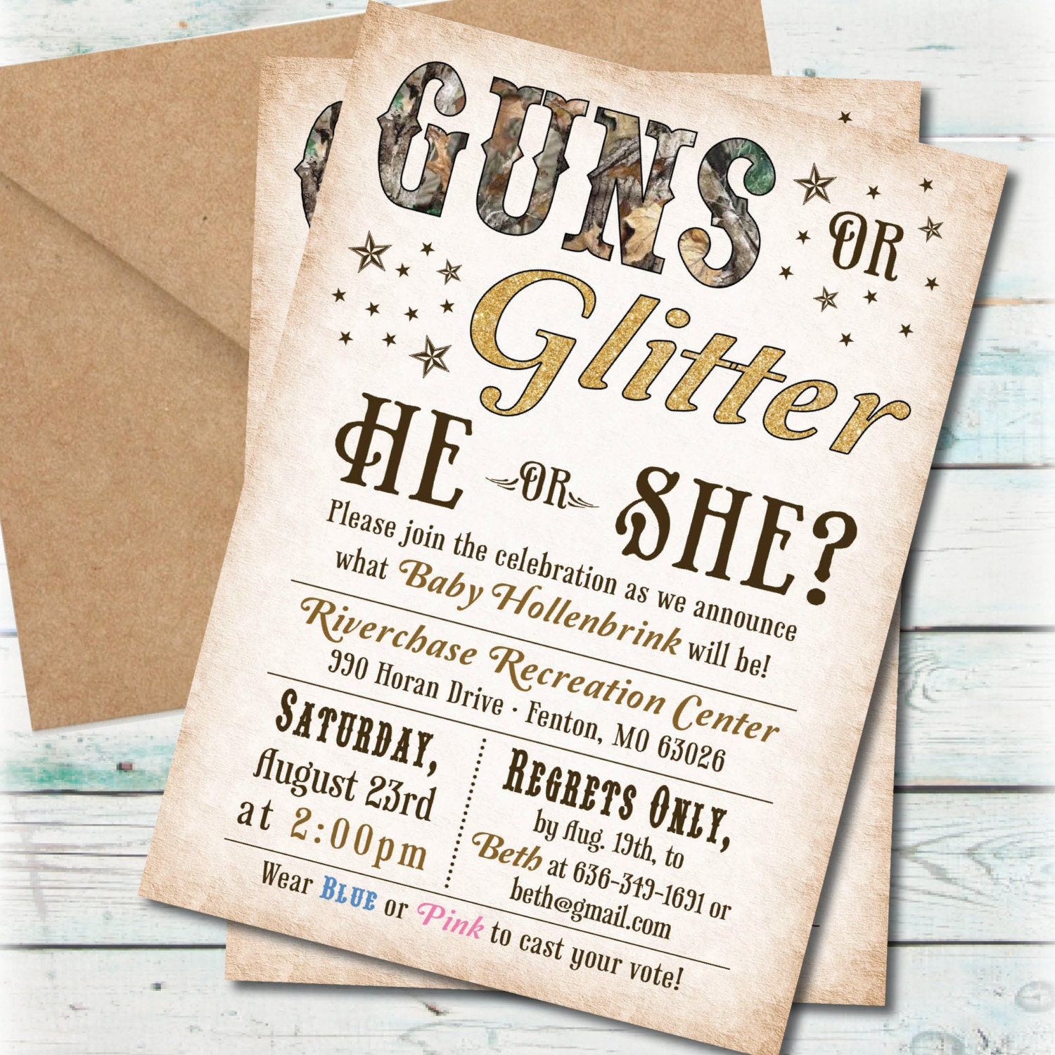 Printable Guns or Glitter Gender Reveal Party Invitation – Baby Gender Reveal Party Invitations