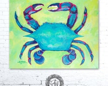 Turquoise Crab, Crab Print, Crab Painting, Nautical Art, Coastal Art, Sea Creature Nursery, Turquoise Crab, Beach House Decor, Coastal Decor