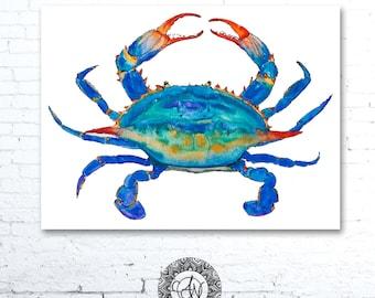 Blue Crab, Crab Watercolor, Crab Print, Crab Print, Watercolor Crab, Nautical Art Print, Crab Painting, Beach Decor, Crab Art, Crab Decor
