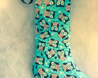 Quilted Flannel Owl Stocking