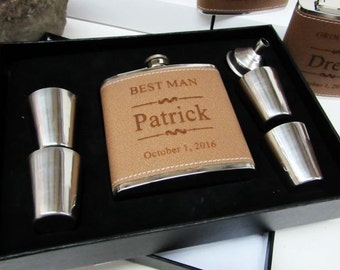 Groomsmen Gifts, Personalized Groomsmen Flask, Wedding Party Gifts, Bridesmaid Gifts, Man of Honor Gift, Bridesman Flask