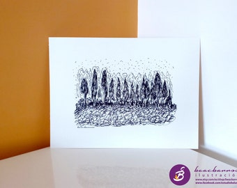abstract ink landscape / starry night sketch: NIGHT FOREST / ink minimal art / ink forest sketch / line art landscape / forest lines print