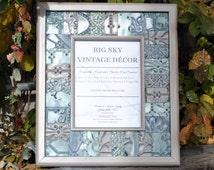 Antique Ceiling Tile Picture Frame Vintage Reclaimed Salvaged Wood FR1310