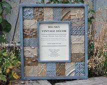 Antique Ceiling Tile Picture Frame Vintage Reclaimed Salvaged Wood FR1235