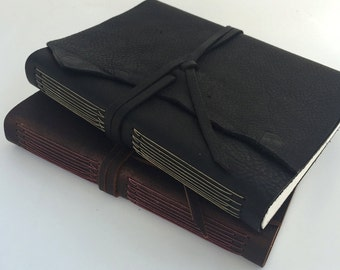 Medium Leather Longstitch Journal/Sketchbook (Mohawk Superfine Paper)
