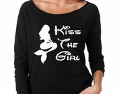 Disney's Little Mermaid Kiss The Girl 3/4 Sleeve Sweatshirt Princess Ariel Sweatshirt Disney Apparel Disneyland Tee Disney World T-Shirt