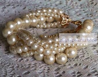 champagne pearl bracelet, five stand twist Glass Pearl bracelet,champagne Pearl bracelet,wedding bracelet,bridesmaid bracelet,women bracelet