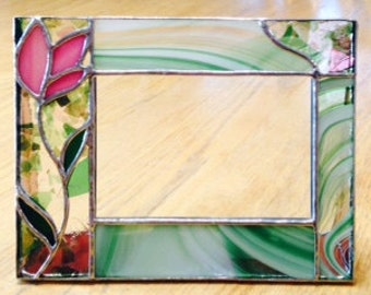 Pink floral stained glass picture frame
