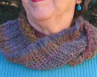 Woman Accessory Cowl, Infinity Scarf, Fashion Accessory, Permanently Twisted Quality Handmade Cowl, Hand Knit Cowl, Lightweight Cowl