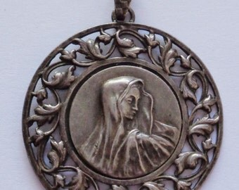 Antique Religious Medal VIRGIN MARY