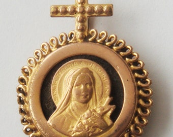Vintage Religious Medal St. Theresa With Magnet
